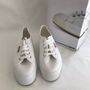 Superga Shoes - Superga White Platform Sneaker